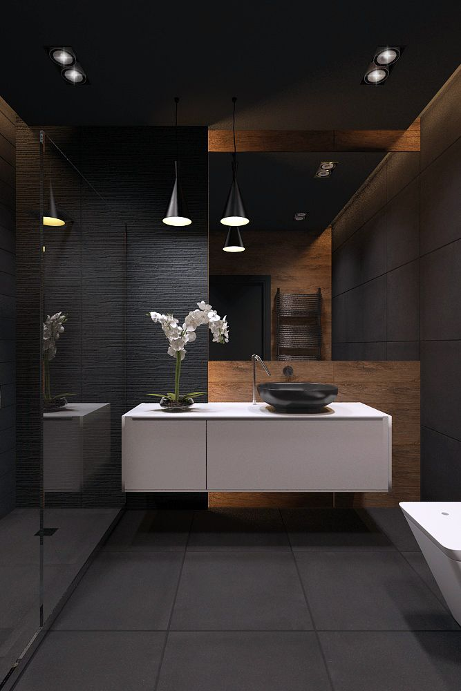 Best 25 dark bathrooms ideas on pinterest slate for Dark bathrooms design