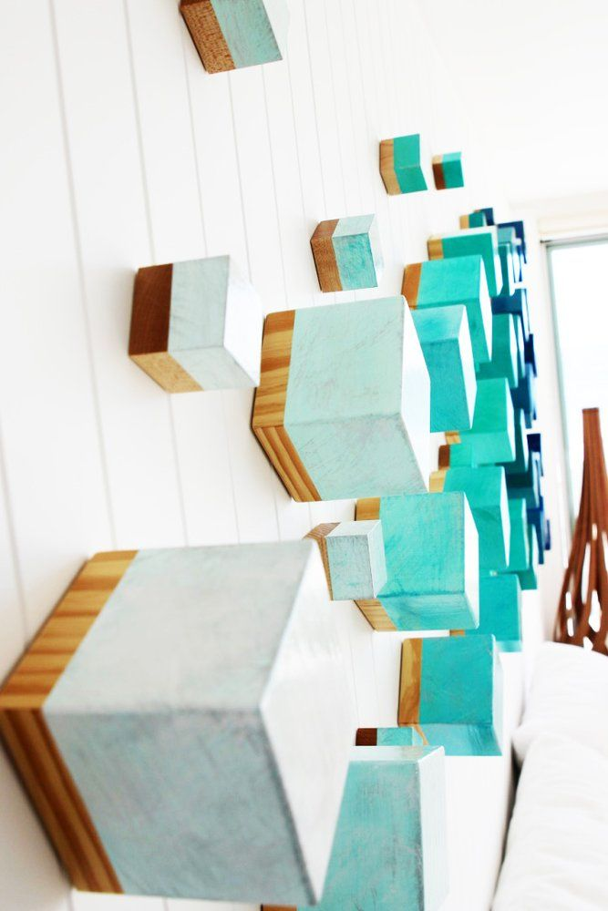 Ocean Breeze Cubed Wood Wall Sculpture Modern Wall Decor 3d