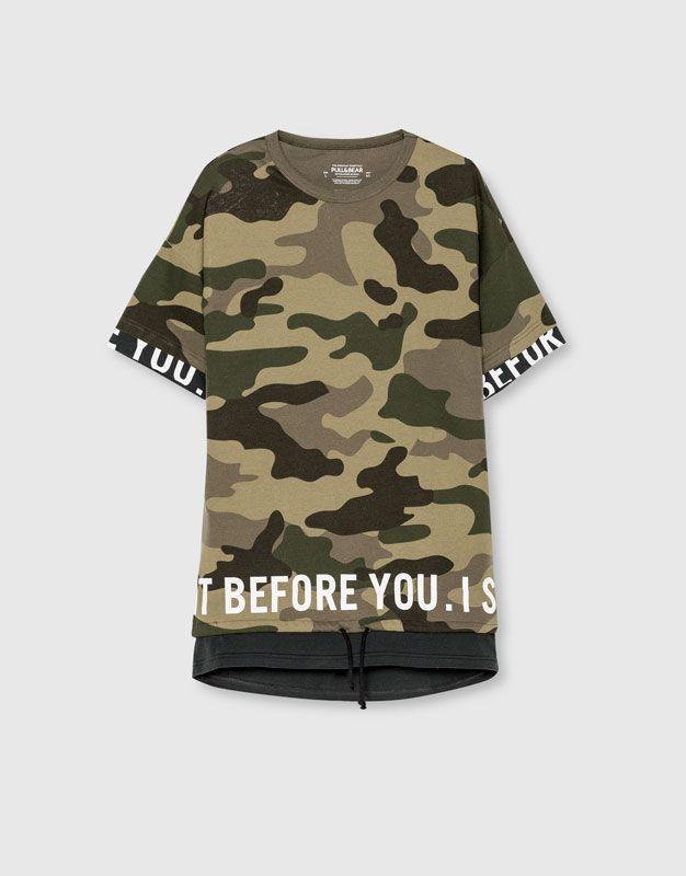 Pull&Bear - hombre - ropa - camisetas - sudadera camuflaje manga corta - kaki - 09590532-I2016