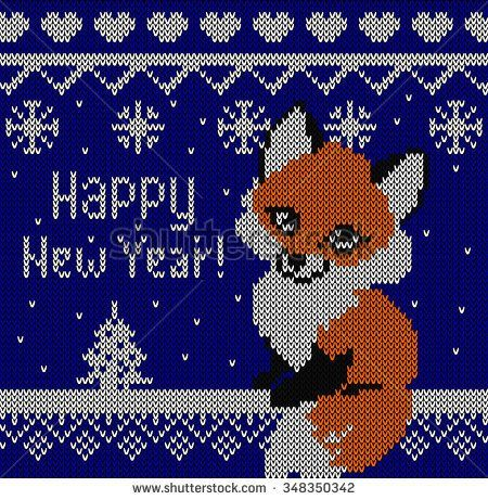 Happy New Year Fox greeting card. Knitting effect blue background.