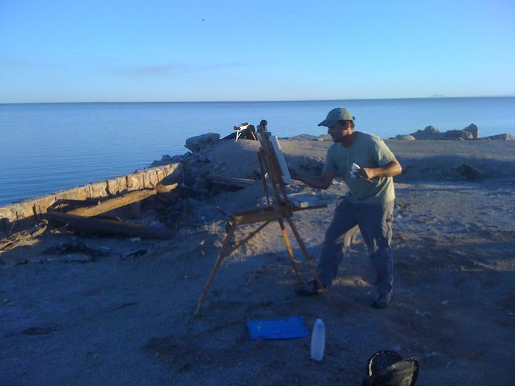 Andy Dickson painting at Bombay Beach on the Salton Sea.