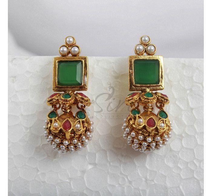 Designer earrings in green stud and pearl