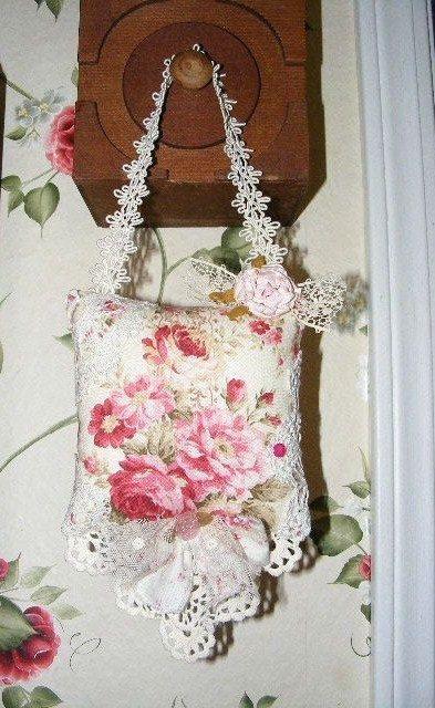 Pink Rose Hanging Sachet Pillow.