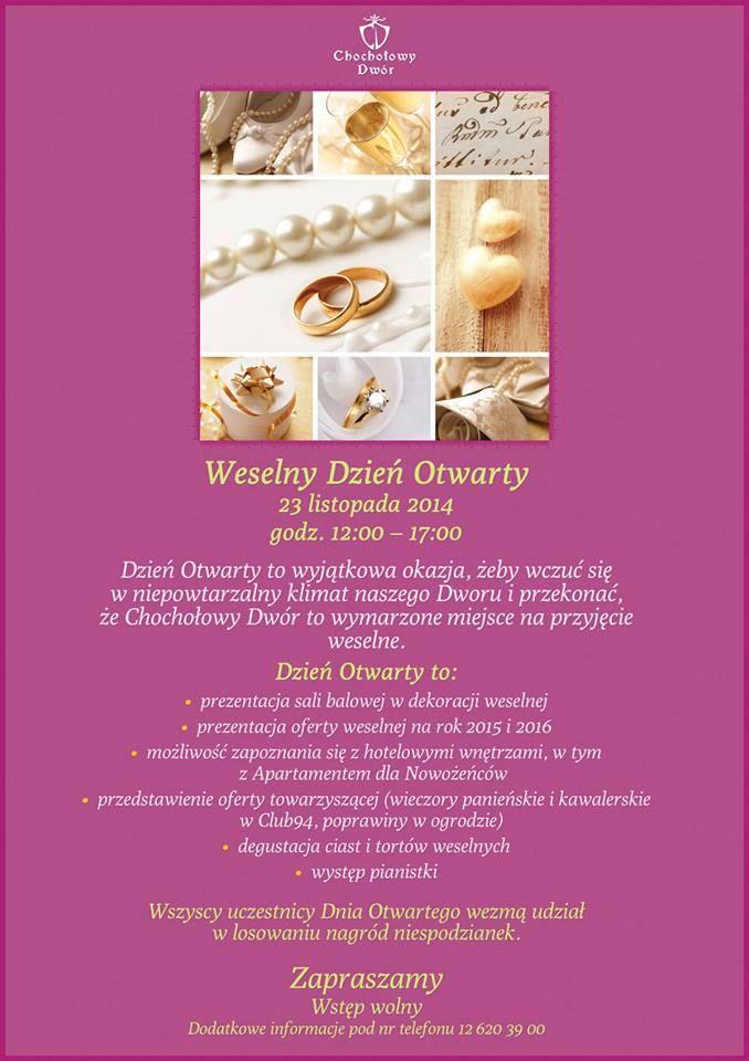 Zapraszamy na Weselny Dzień Otwarty 23 listopada, godz. 12-17. #wesele #Krakow #salanawesele
