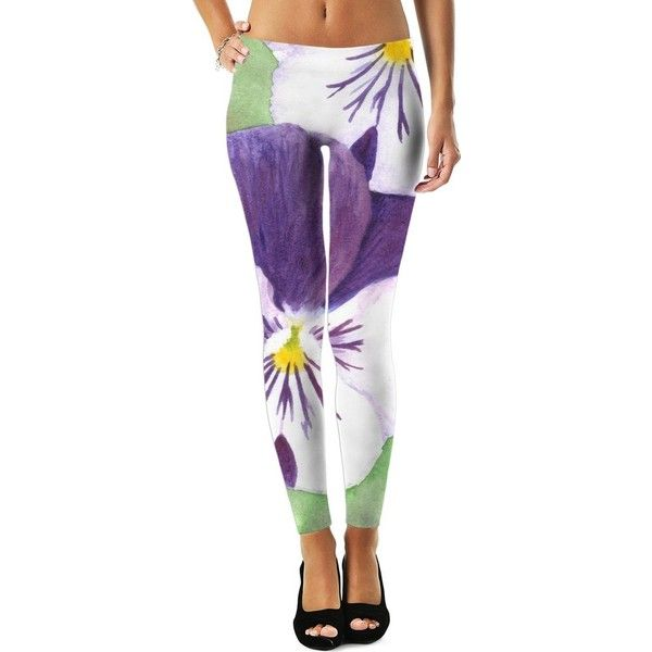 White and purple pansies flowers Leggings ($45) ❤ liked on Polyvore featuring pants, leggings, flowers, pansies, women, flower pants, purple leggings, flower print leggings, floral trousers and purple pants