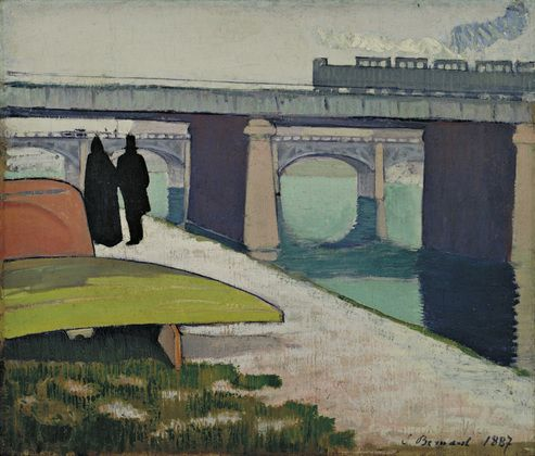 "Iron Bridges at Asnières  Émile Bernard (French, 1868–1941)    1887. Oil on canvas, 18 1/8 x 21 3/8"" (45.9 x 54.2 cm). Grace Rainey Rogers Fund. © 2012 Artists Rights Society (ARS), New York / ADAGP, Paris"