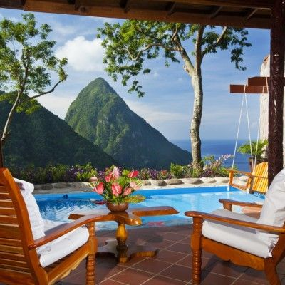 Best Beach Hotel Views: Ladera St. Lucia Resort, Soufrière, St. Lucia. With its fourth wall missing so that rooms open to the Caribbean Sea and blue skies, Ladera inspires every visitor and sets a benchmark, view-wise, that's hard to beat. Coastalliving.com