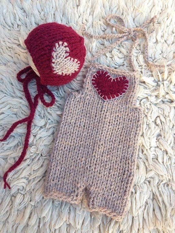 NEW!!! Newborn knit set Valentines day set Bonet heart dungarees newborn overall Photo prop ready to ship baby set soft yarn heart