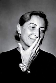 Muccia Prada. The company was named for her childhood nickname. She is the daughter of Luisa Bianchi nee Prada who was heiress to the 'Fratelli Prada' luxury goods company, the head to which she was appointed in 1958. Later Miuccia took over from her mother after receiving a PhD in political science, and studying mime at a Milano theater!