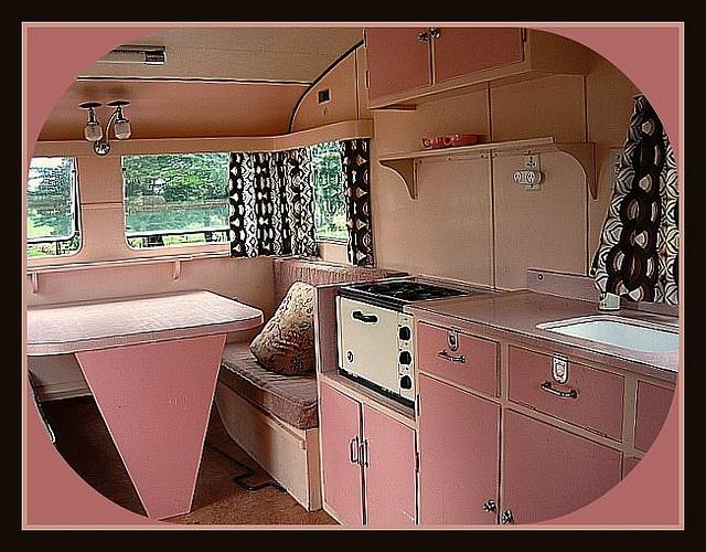 Interior of vintage caravan.