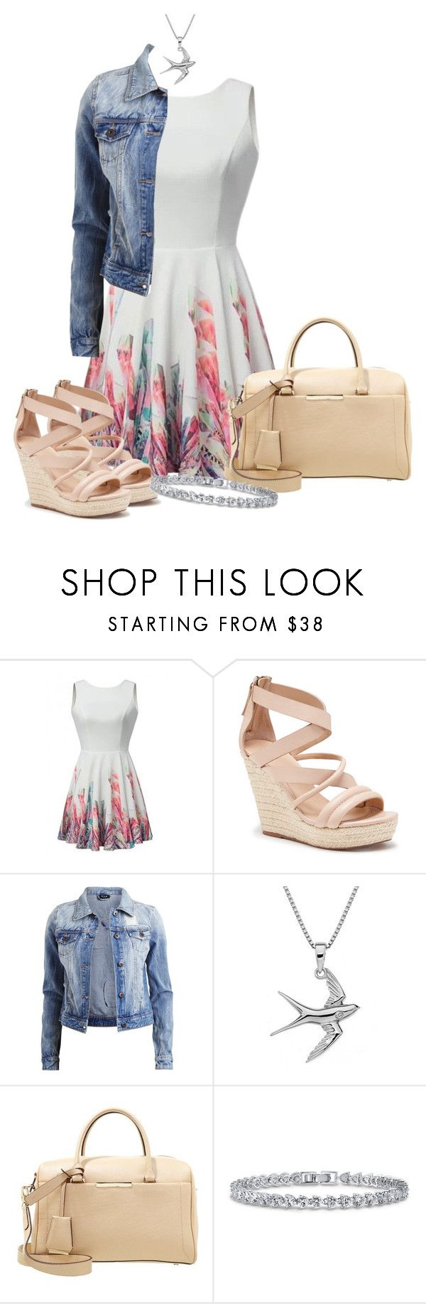 """""""Spring Wedge Sandals Outfit"""" by kelpclock ❤ liked on Polyvore featuring Joe's Jeans, VILA, Clarks and BERRICLE"""