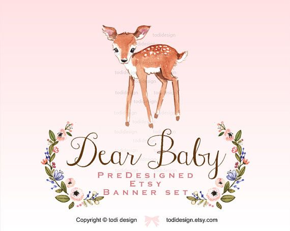 Dear Baby  Premade Etsy Shop Banner set   Whimsical by todidesign
