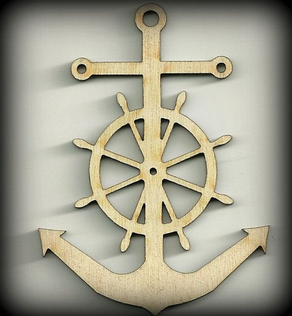 Craft Wheel and Anchor Nautical OutlinesSea by BPLaserEngraving