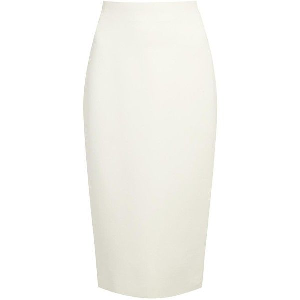 Womens Knee-Length Skirts Donna Karan New York White Wool Blend Pencil... ($870) ❤ liked on Polyvore featuring skirts, knee high skirts, knee length pencil skirt, pencil skirt, donna karan and knee length skirts