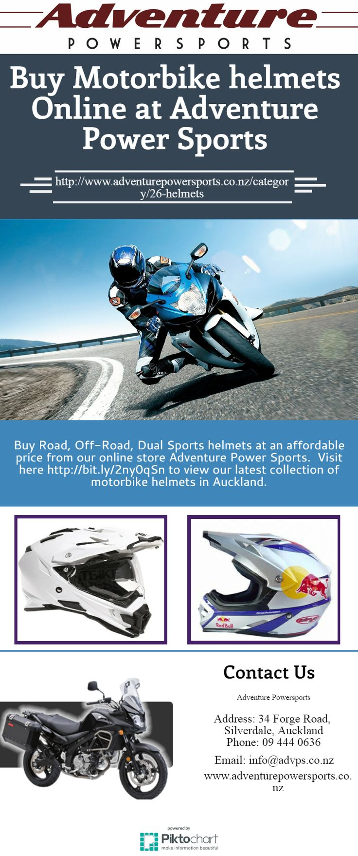 Buy Road, Off-Road, Dual Sports helmets at an affordable price from our online store Adventure Power Sports. Visit at https://goo.gl/ic3mxb
