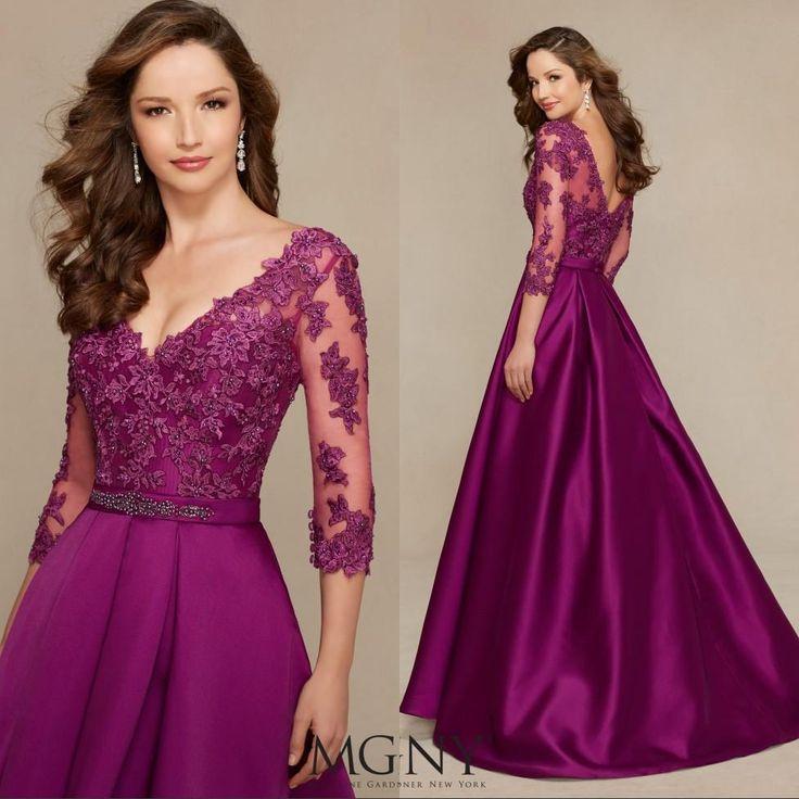 Custom Made V Neck Lace Top Plain Satin Elegant Long: 15436 Best Vestidos Images On Pinterest