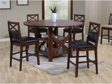 Home Gallery Furniture For Counter Height Gathering Tables Franklin Square Round Leg Table In Dark Walnut Finish
