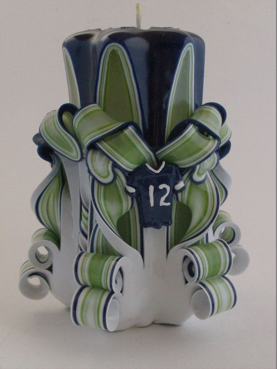Seattle Seahawks Candle by ZeeCandlesPuyallup on Etsy
