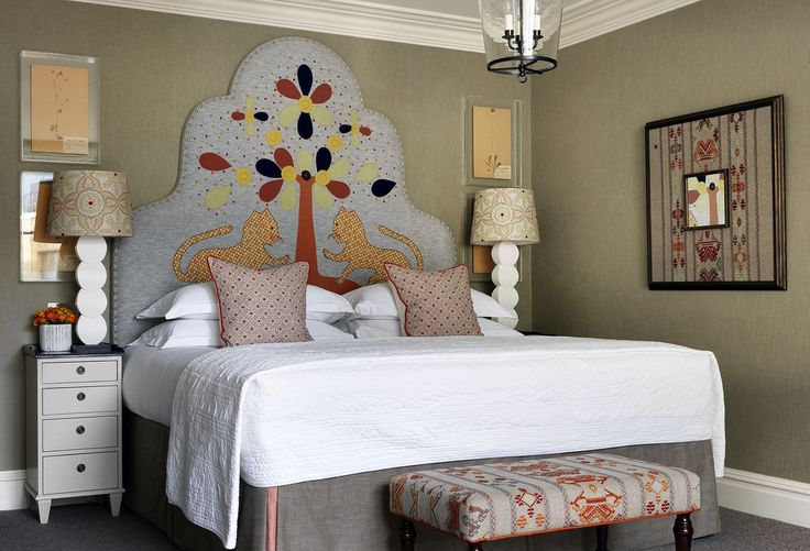 Firmdale Hotels - Kit Kemp for Fine Cell Work - I like the fabric on the walls