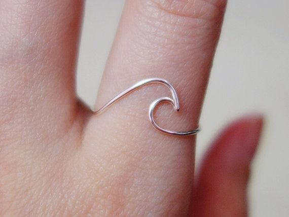 Sterling silver Wave Ring/gold by BeadsLearnToRock on Etsy