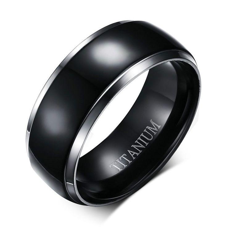Men Titanium Rings Black Men Engagement Wedding Rings  Jewelry 8mm Wide High Polished Ring High Quality 100% Titanium TR-004
