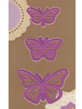 """Butterflies - $11.95  This Butterfly Trio from Joy! Crafts will be a perfect addition to your cards and other projects!  Cut and emboss. These three tiny butterflies are about 2 1/4"""" wide x 1 1/2"""" high; 1 3/4 wide"""" x 1"""" high; 1 1/2"""" wide x 7/8 high""""."""