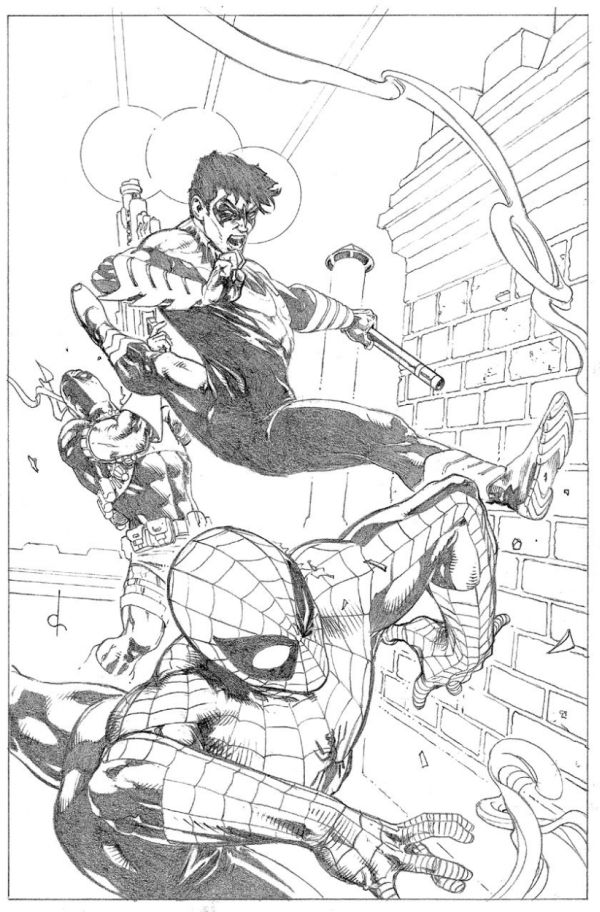 Nightwing vs. Deathstroke vs. Spider-man (Commission) - by Dave Ross
