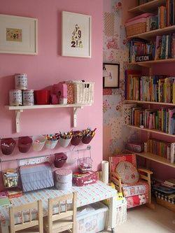Pink kids art & craft corner