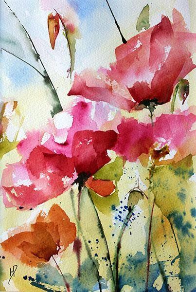 Coquelicots bleus 02 - Painting,  17x25 cm ©2013 by Véronique Piaser-Moyen -            coquelicots, aquarelle, fleurs, fleur, bouquet, bouquets, , peinture, art contemporain, art, contemporaine, pigments, piaser-moyen