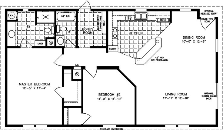 L Shaped 1200 Square Foot 2 Bedroom Plans Small House