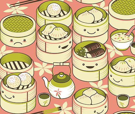 cute dim sum bamboo steamer illustration