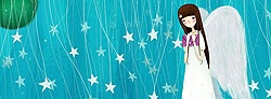 Cute lovely white angel illustration with stars as background for facebook timeline cover