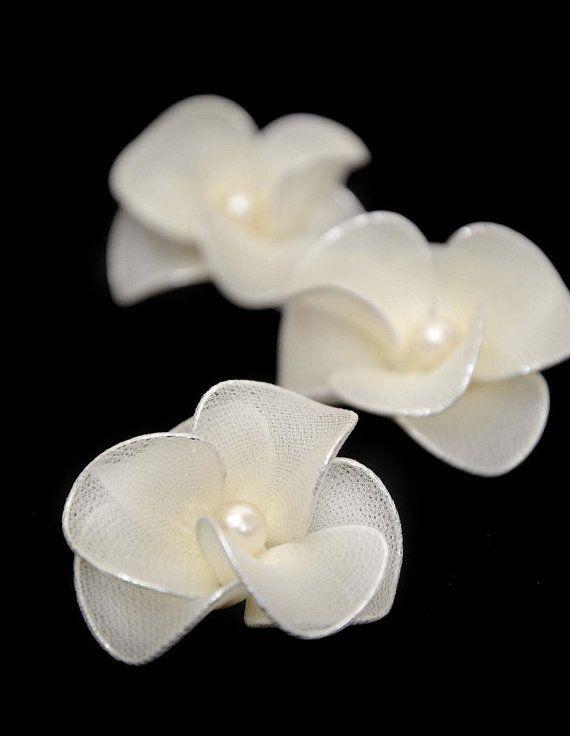 Set of 3 Ivory hair flowers Bridal hair flowers by MyArtDeco