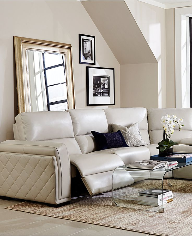 Sleeper Sofas Jessi Leather Power Reclining Sectional Sofa Collection Created for Macy us