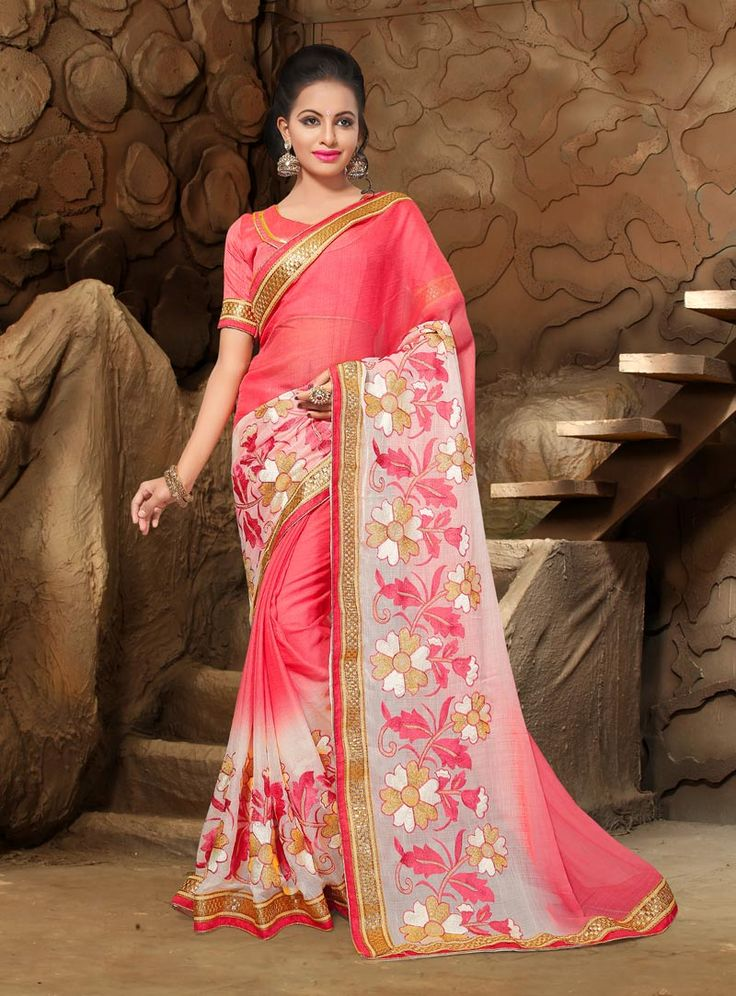 Peach Chiffon Saree With Blouse 80880