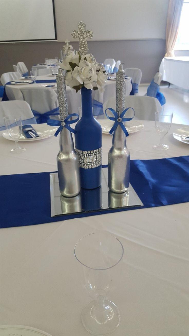 Wine Bottle Royal Blue Acrylic Paint Rhinestone Ribbon Beer