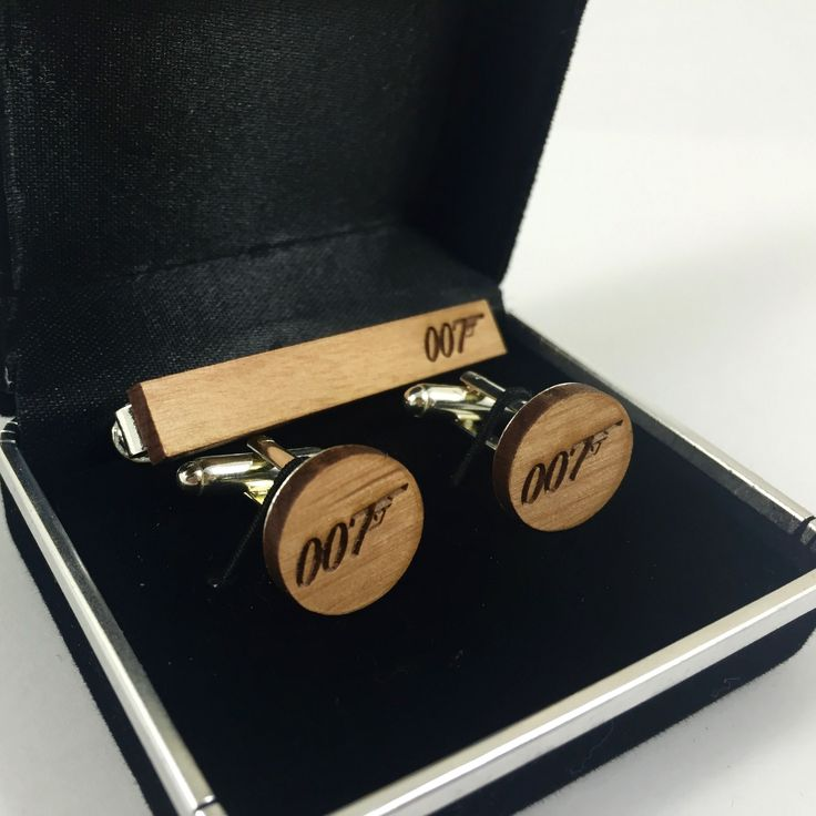 Personalised Mens Wood Cufflink and Tie Clip Set