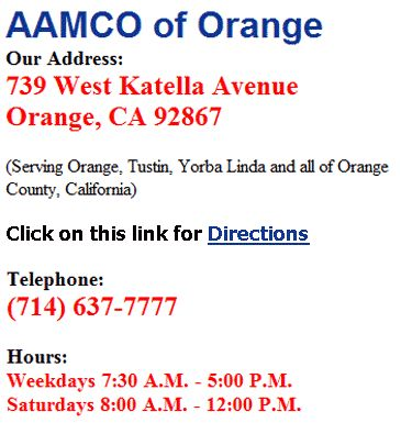 AAMCO auto repair and transmission service is offered in Orange County, CA including the cities of Orange, Tustin, Yorba Linda for the diagnosis and troubleshooting of general vehicle problems >> AAMCO Orange --> http://aamcoorange.com
