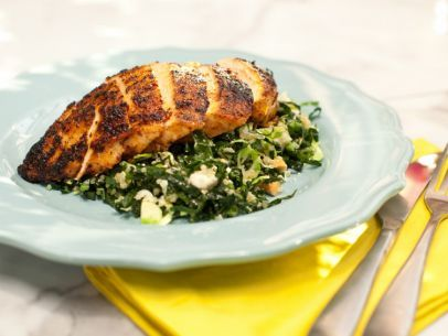 On The Kitchen: Chile-Rubbed Chicken Breast with Kale, Quinoa and Brussels Sprouts Salad: Food Network, Kale Salad, Marcela Valladolid, Chicken Breasts, Salad Recipes, Brussels Sprouts, Peppers Recipes, Sprouts Salad, Chile Rubbed Chicken