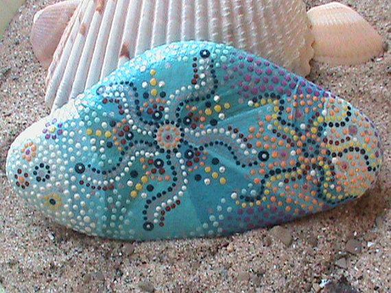 Hand Painted/Beach Stone/UnderThe Sea/Lake by TheLakeshoreStore, $12.00