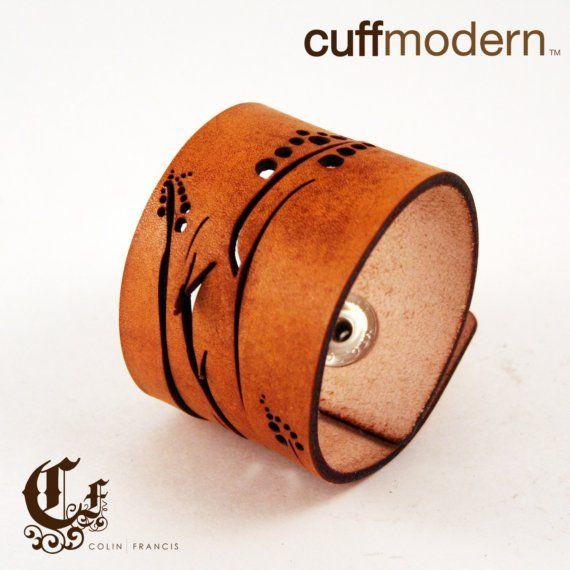 'Viney' laser cut leather cuff bracelet...hand dyed English Tan...a bit rustic...a bit of patina...