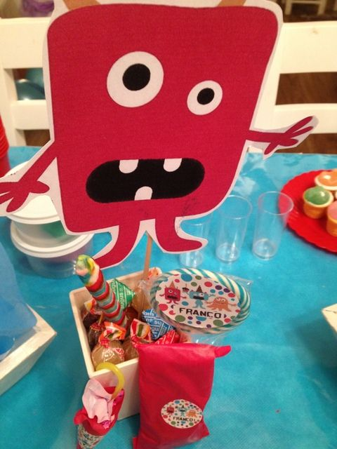 Love these centerpieces at a Monster Party!  See more party ideas at CatchMyParty.com!  #partyideas #monster