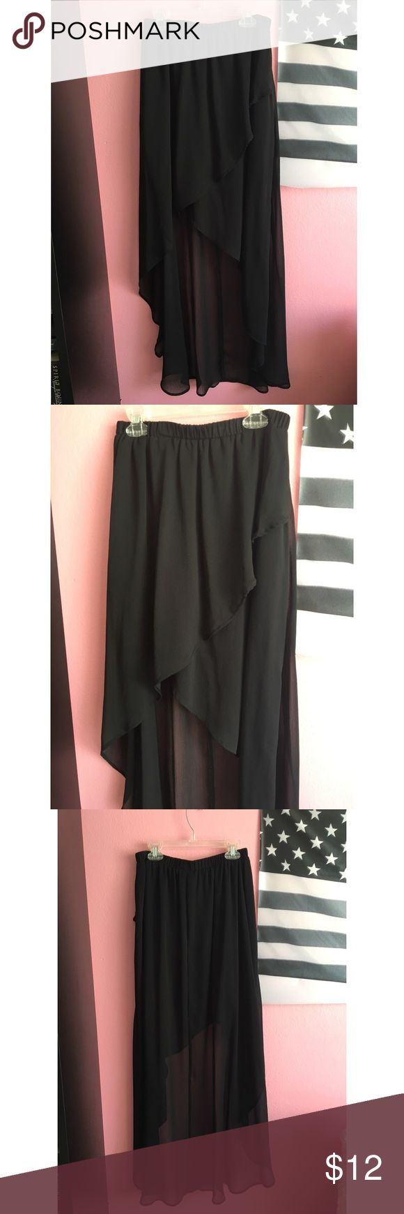 Sassy Black High Low Skirt This adorable layered skirt has only been worn once and is in perfect condition! Great for any casual or semi casual occasion! Xhilaration Skirts High Low