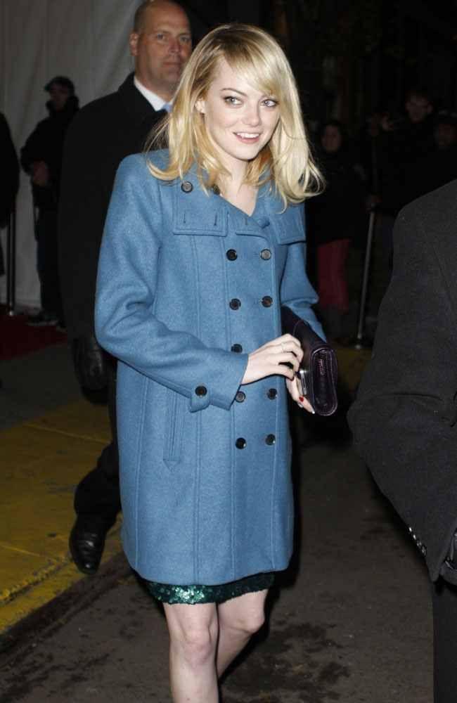Emma Stone blue coat
