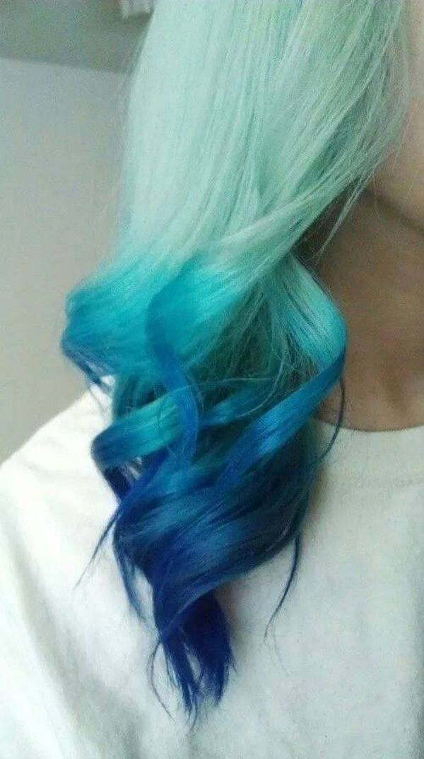 Periwinkle blue to sky blue to mint green pastel dip-dye ombre hair color. Description from pinterest.com. I searched for this on bing.com/images