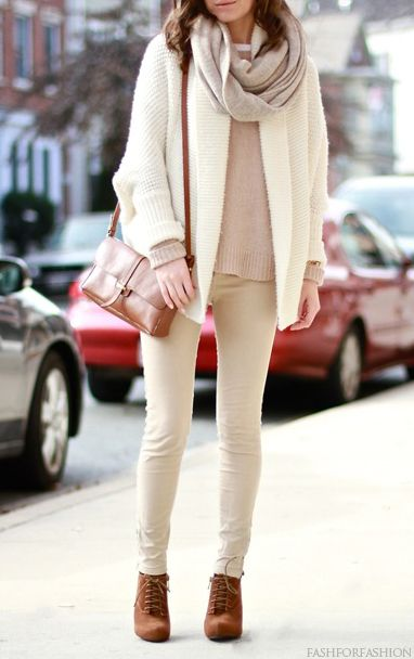 White Oversized Cardigan + Taupe Knit Sweater + Gray Infinity Scarf + Khaki Skinny Pants + Brown Lace Up Leather Ankle Boots