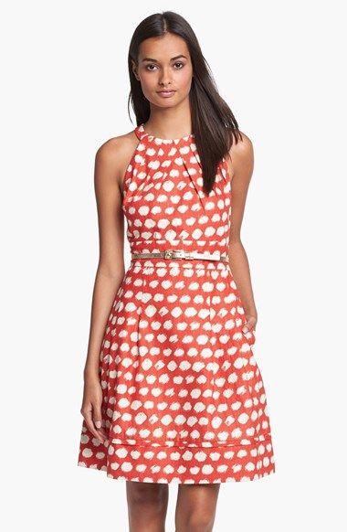 Eliza J Belted A-Line Dress in red