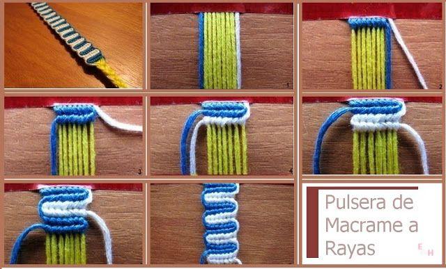 enrHedando: Como hacer una Pulsera de Rayas de Macrame