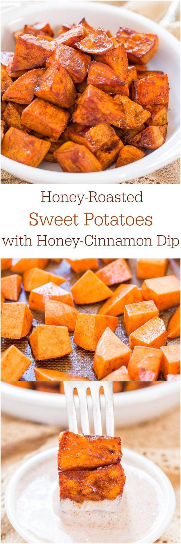 Honey-Roasted Sweet Potatoes with Honey-Cinnamon Dip - The honey glaze and the…