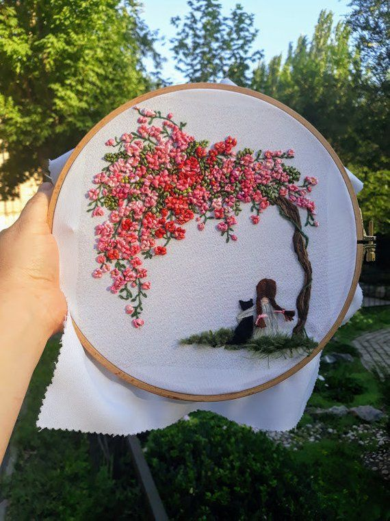 Picture girl with black cat Cherry blossoms. Hand embroidery wall art